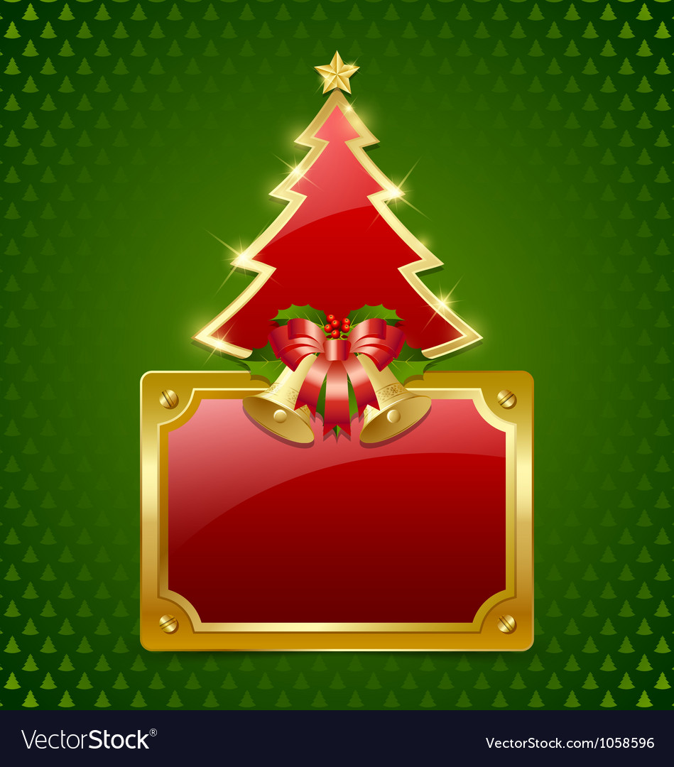 Christmas tree with bells and plaque vector | Price: 1 Credit (USD $1)