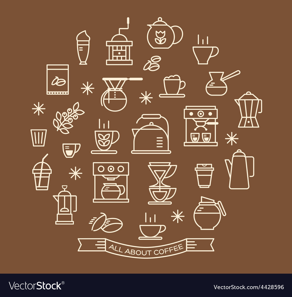 Coffee outline icons set vector | Price: 1 Credit (USD $1)