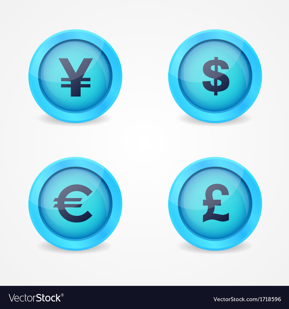Currency signs on glossy icons vector | Price: 1 Credit (USD $1)