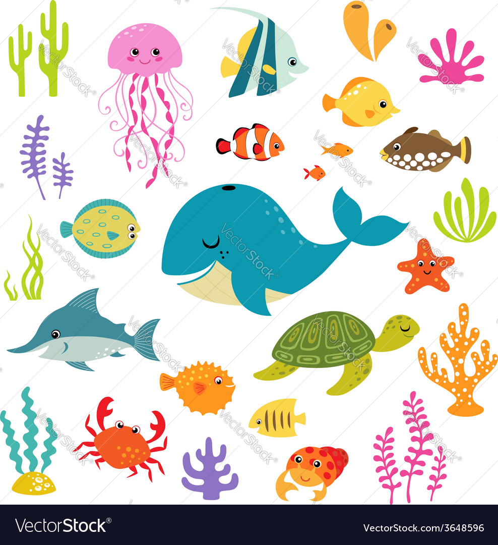 Cute underwater world vector | Price: 1 Credit (USD $1)