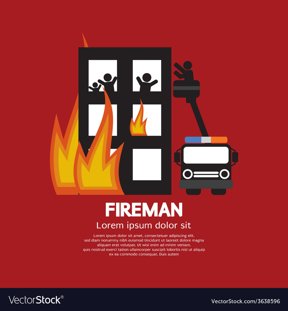 Fireman on truck helping the victims vector | Price: 1 Credit (USD $1)
