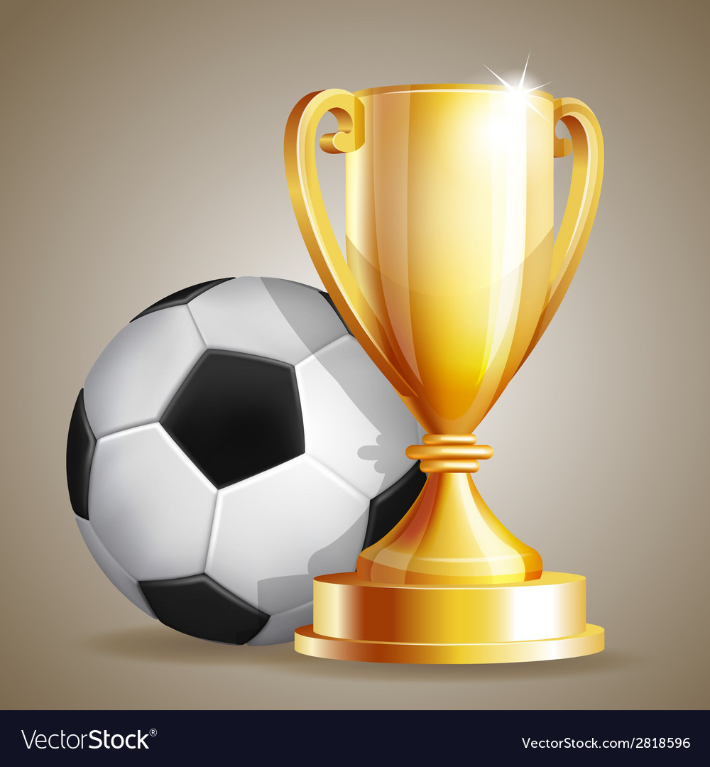 Gold cup with a football ball vector | Price: 3 Credit (USD $3)