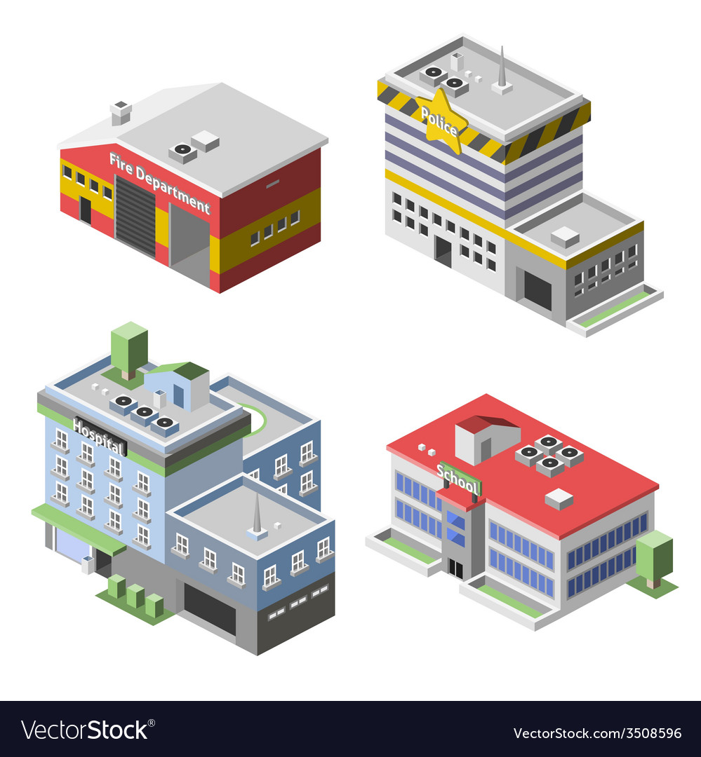 Government buildings set vector | Price: 1 Credit (USD $1)