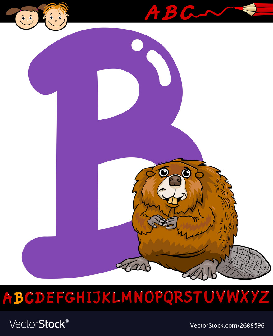 Letter b for beaver cartoon vector | Price: 1 Credit (USD $1)