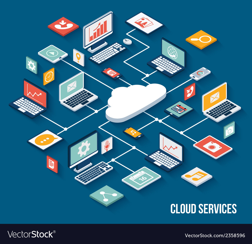 Mobile cloud services isometric vector | Price: 1 Credit (USD $1)