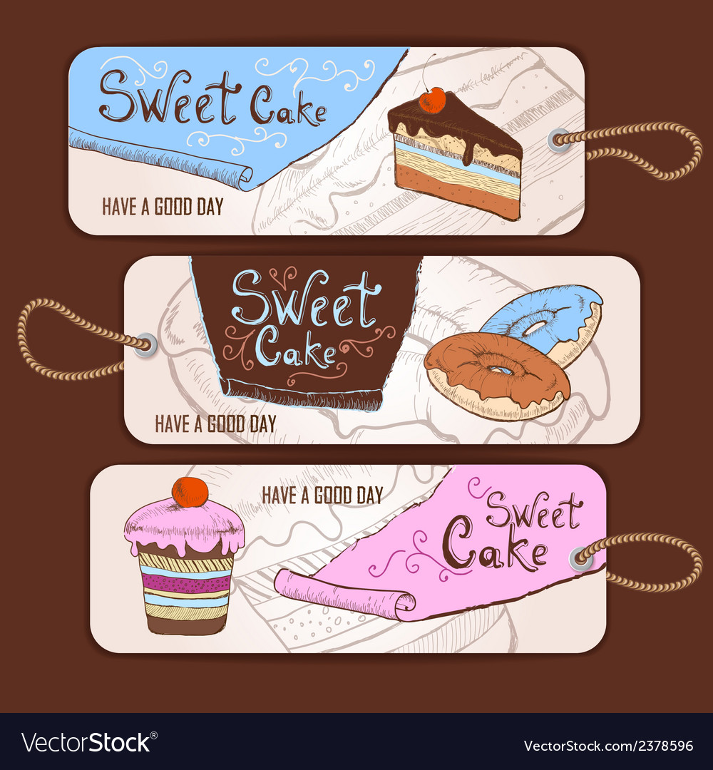 Set of decorative banners sweet cake sketch backg vector | Price: 1 Credit (USD $1)