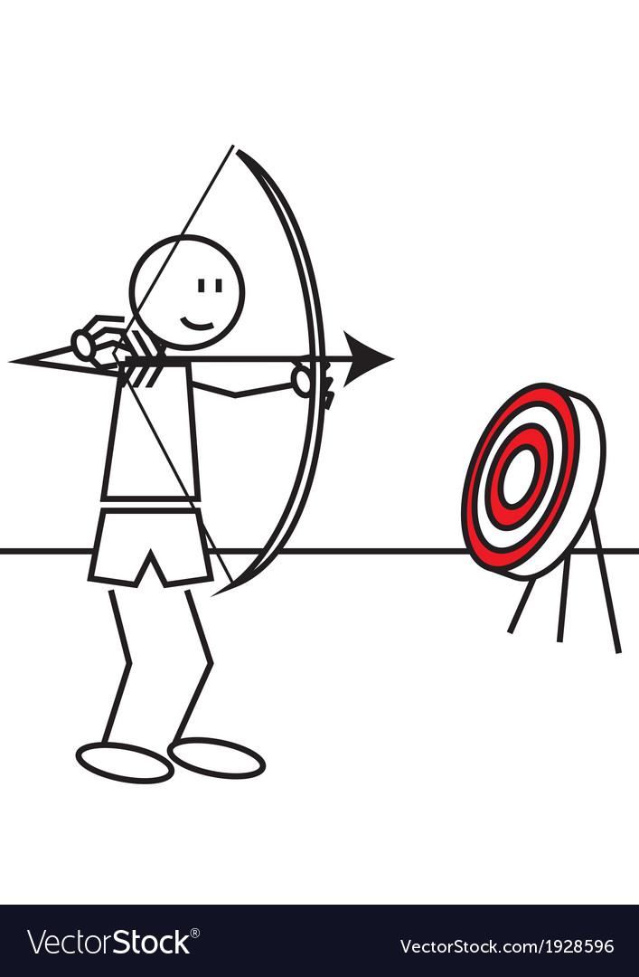 Stick figure archery vector | Price: 1 Credit (USD $1)