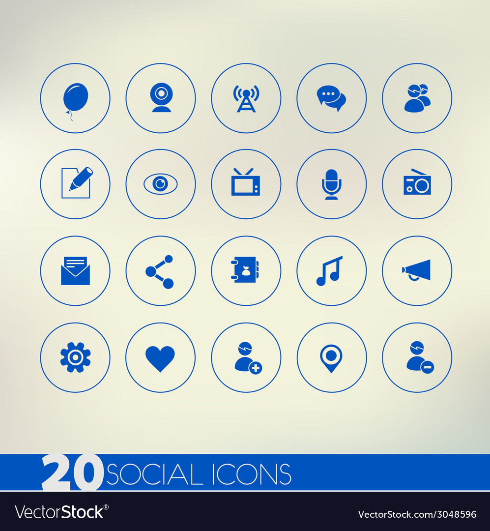 Thin simple social blue icons on light background vector | Price: 1 Credit (USD $1)