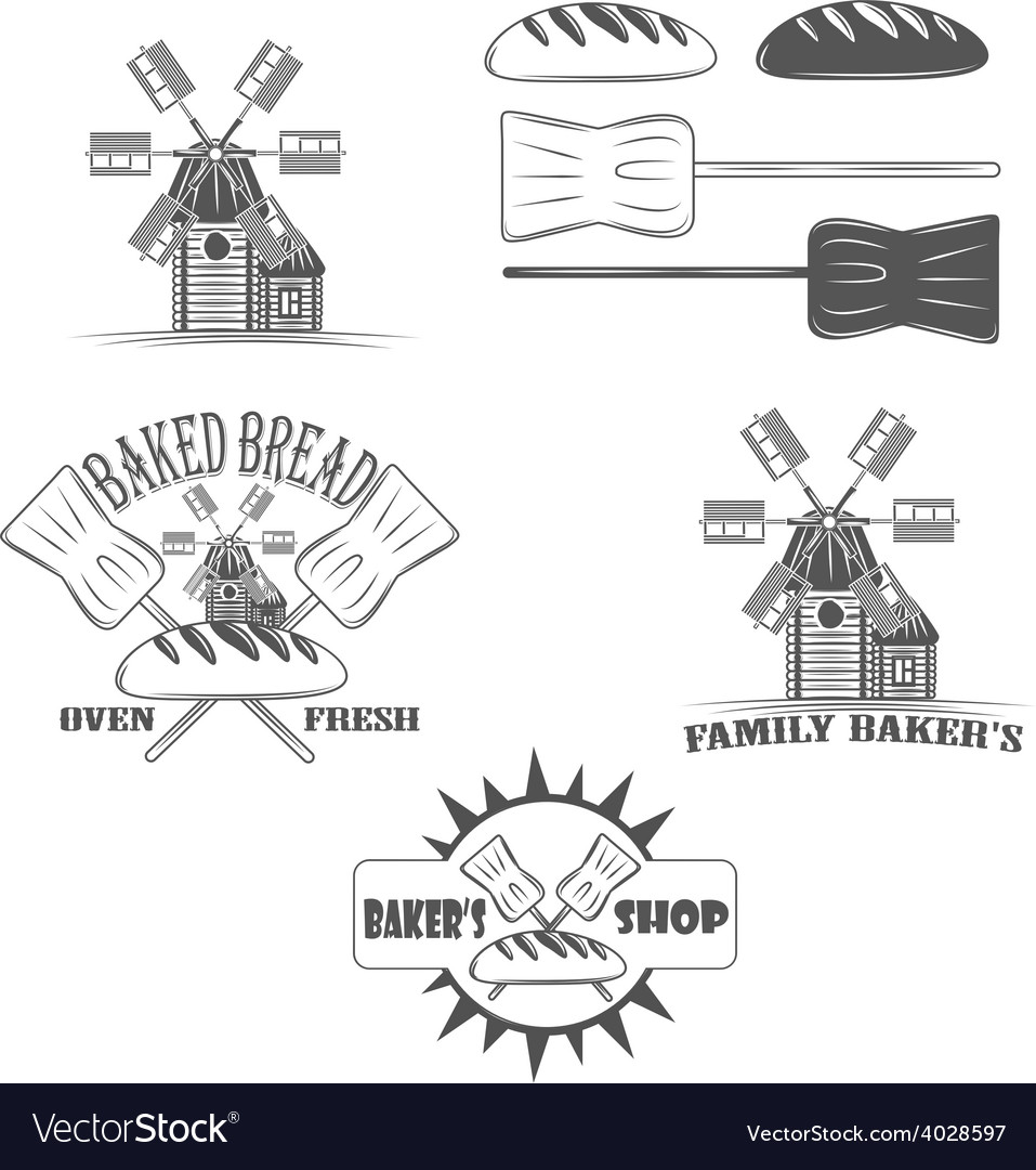 Baked bread  oven fresh shop logos and pictures vector | Price: 1 Credit (USD $1)
