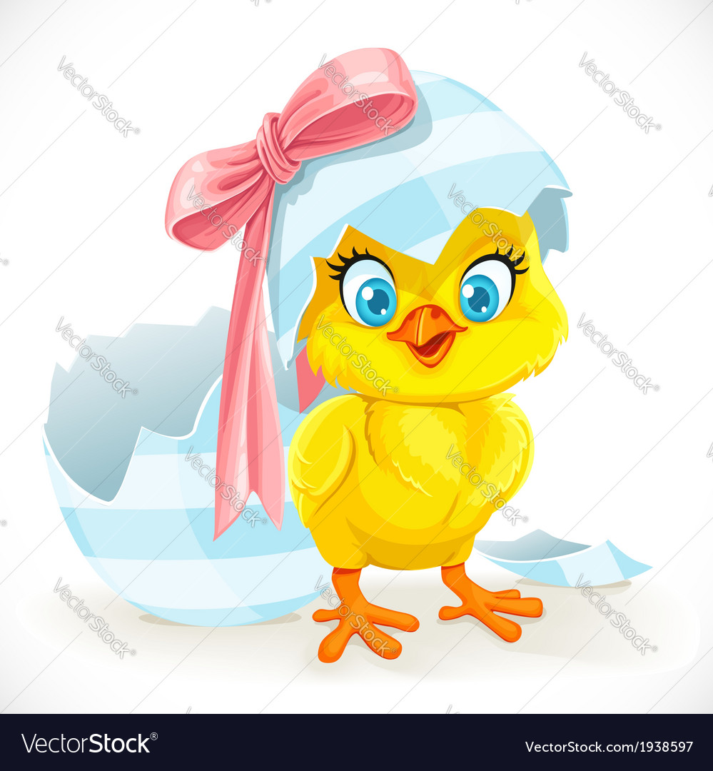 Cute baby chick just hatched from an easter egg vector | Price: 3 Credit (USD $3)