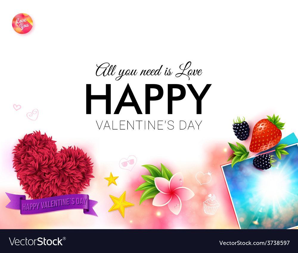 Happy tropical valentines day card design vector | Price: 1 Credit (USD $1)
