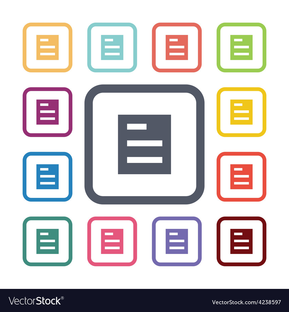 List flat icons set vector | Price: 1 Credit (USD $1)