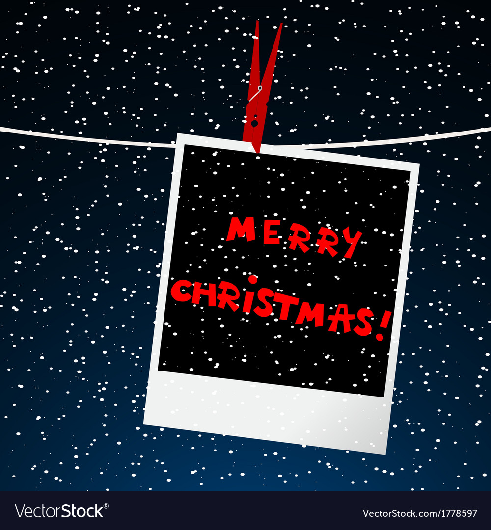 Merry christmas card with picture over night sky vector | Price: 1 Credit (USD $1)