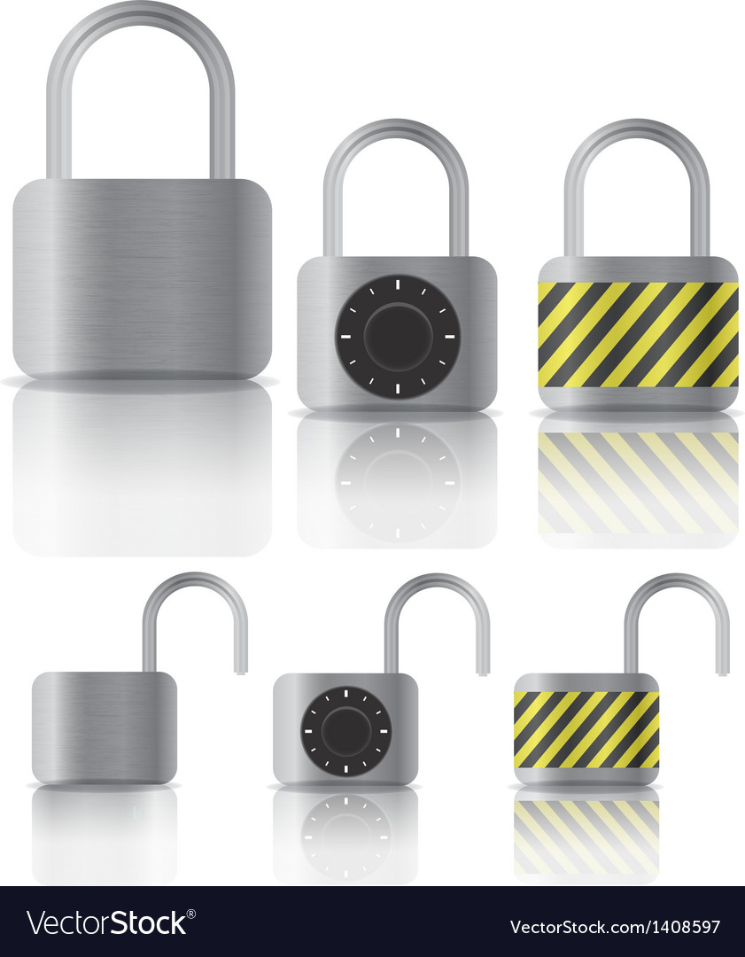 Metal securite locked and unlocked padlockers vector | Price: 1 Credit (USD $1)