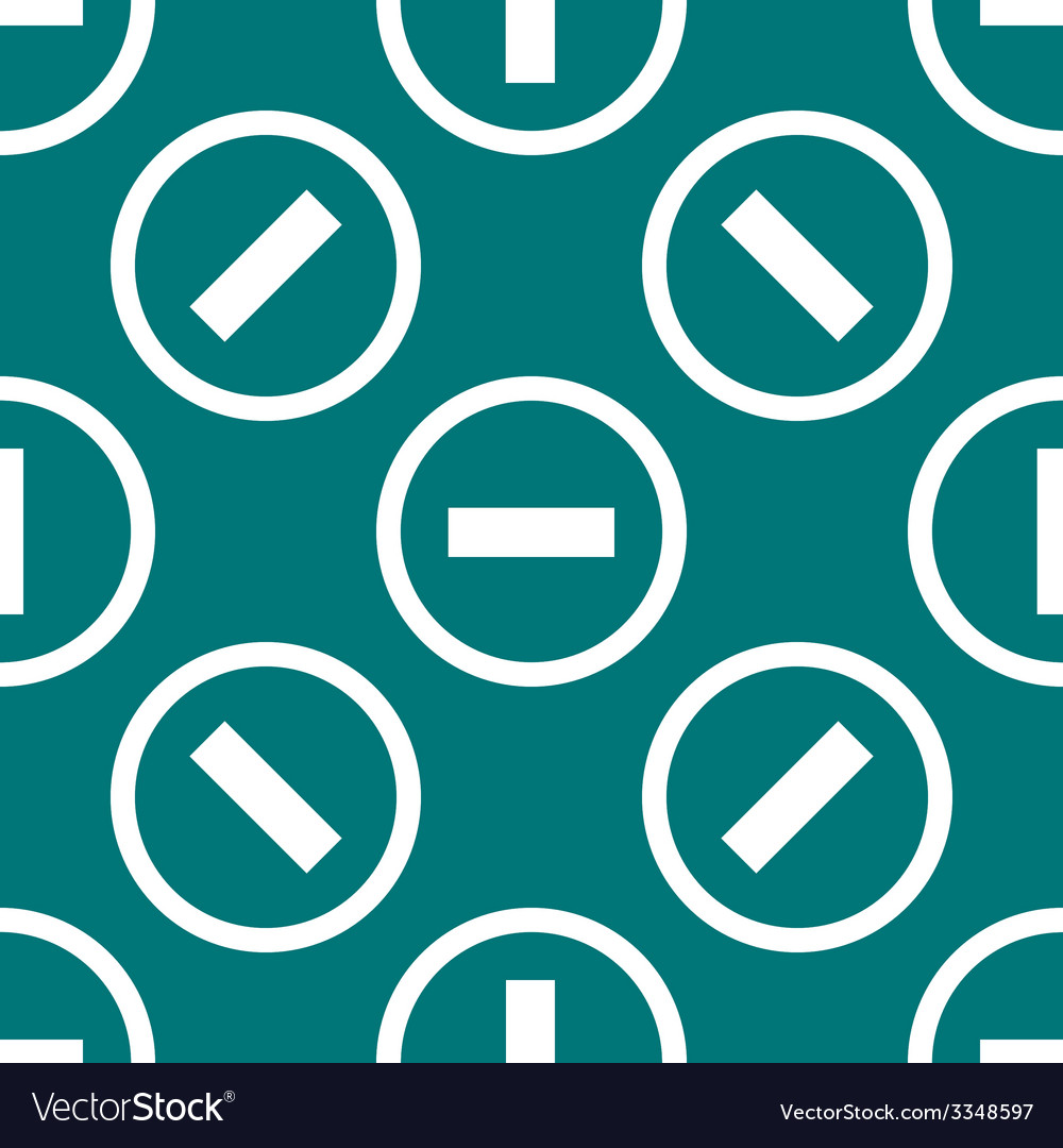 Minus web icon flat design seamless pattern vector | Price: 1 Credit (USD $1)