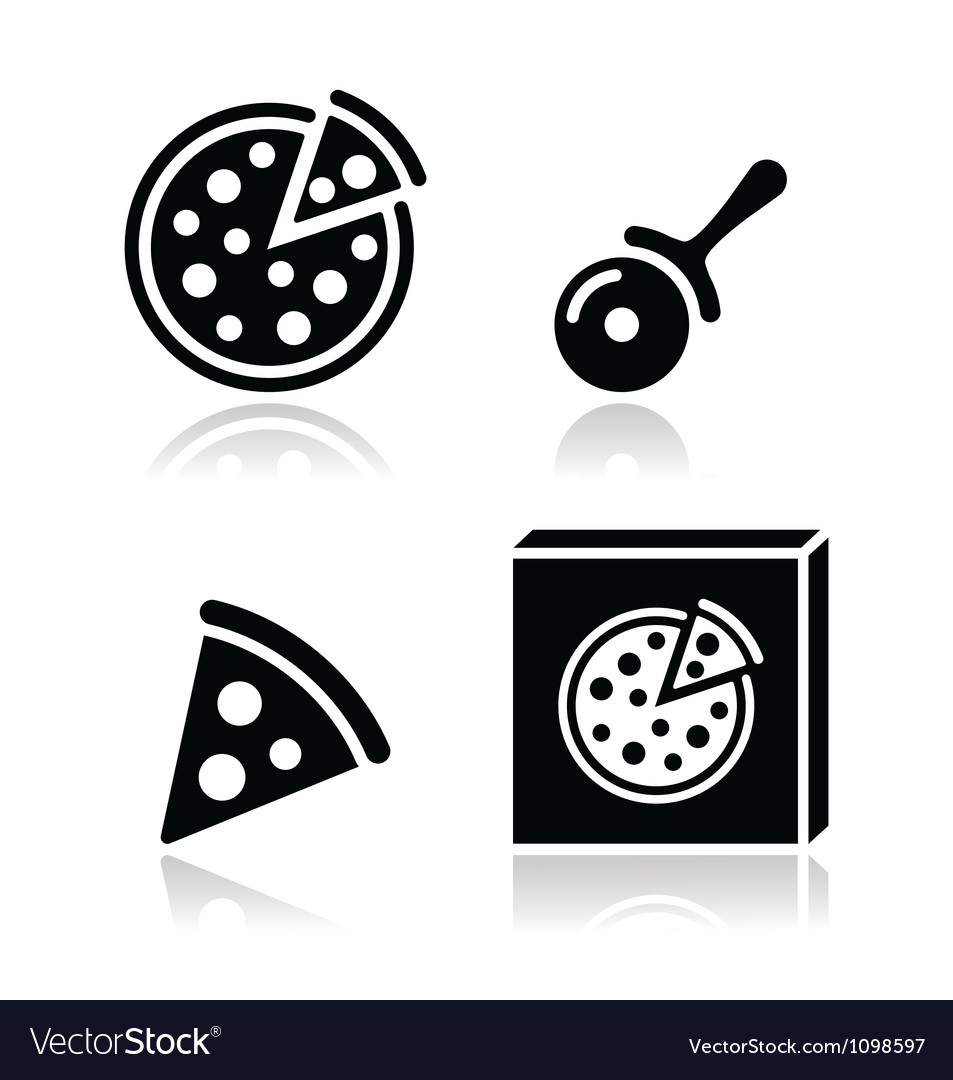 Pizza icons set with reflections vector | Price: 1 Credit (USD $1)