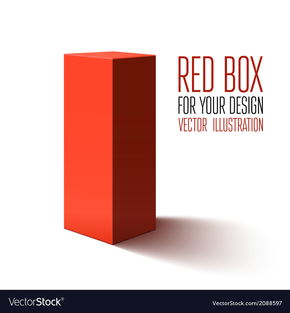 Red box isolated on white background vector | Price: 1 Credit (USD $1)