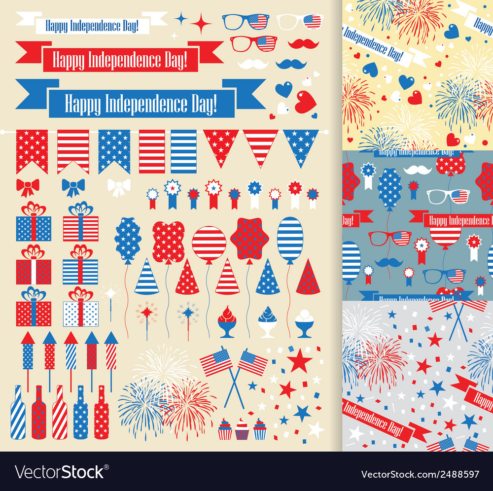 Set of design elements for independence day vector | Price: 1 Credit (USD $1)