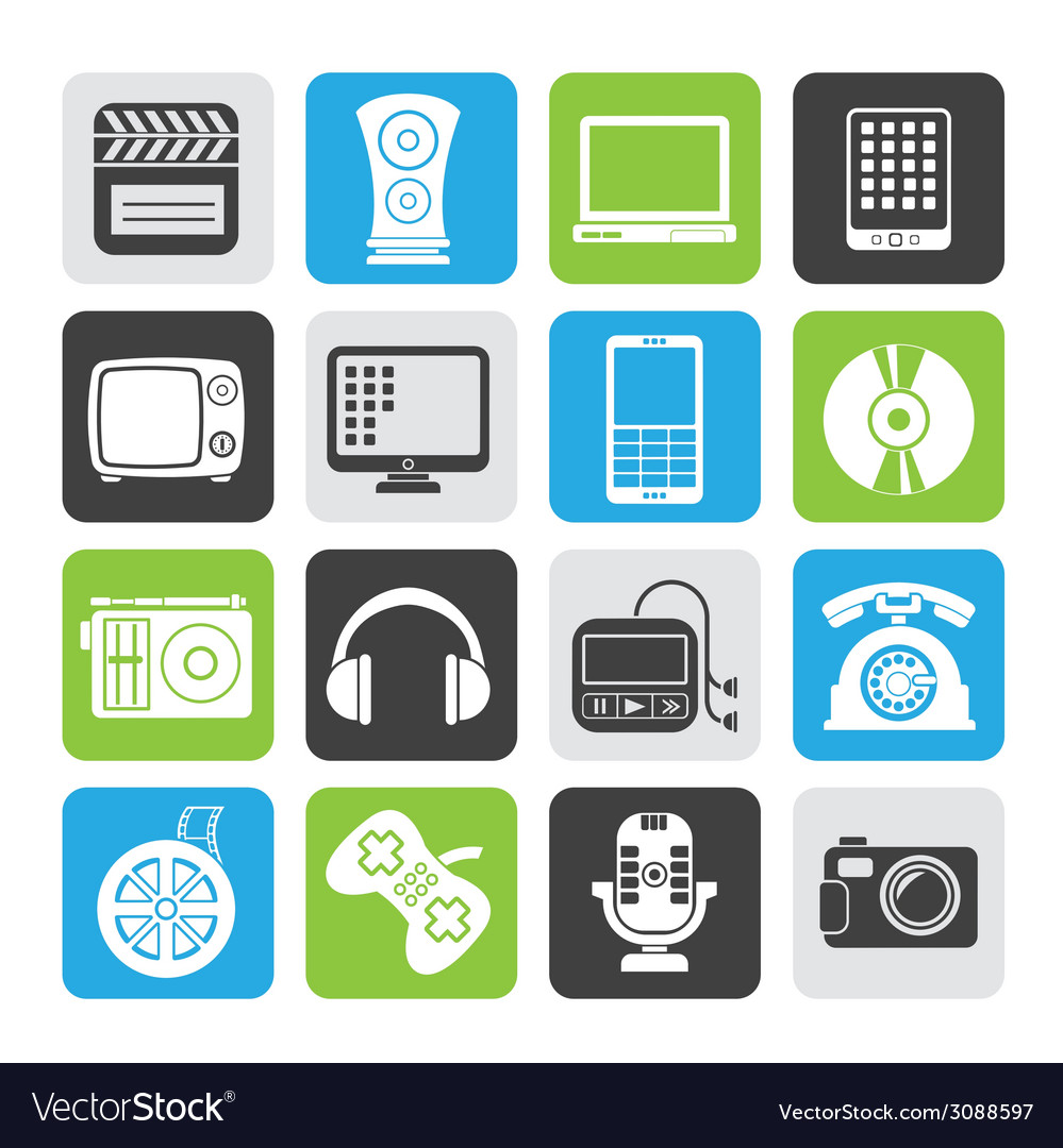 Silhouette multimedia and technology icons vector   Price: 1 Credit (USD $1)