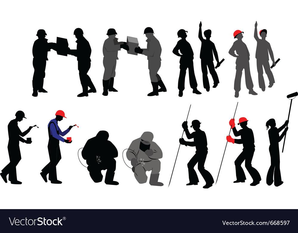 Tradesmen silhouettes vector | Price: 1 Credit (USD $1)
