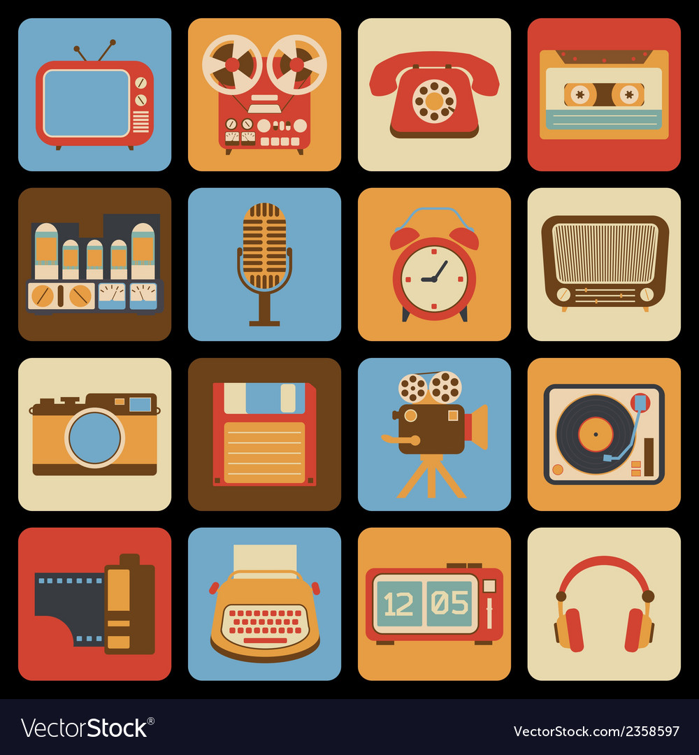 Vintage gadget icons vector | Price: 1 Credit (USD $1)