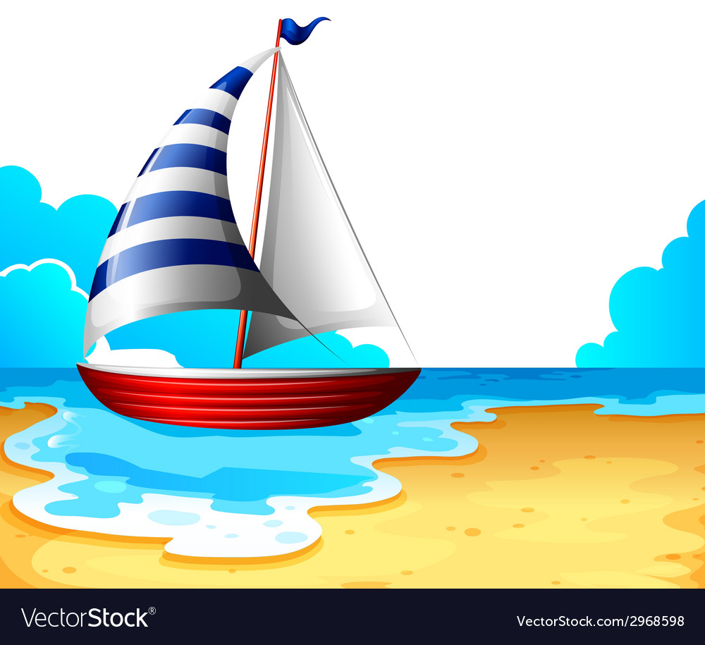 A boat at the beach vector | Price: 1 Credit (USD $1)