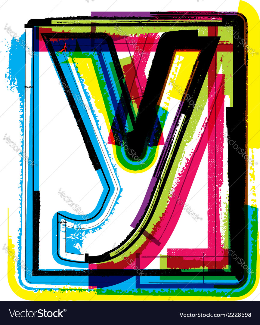 Colorful grunge font letter y vector | Price: 1 Credit (USD $1)