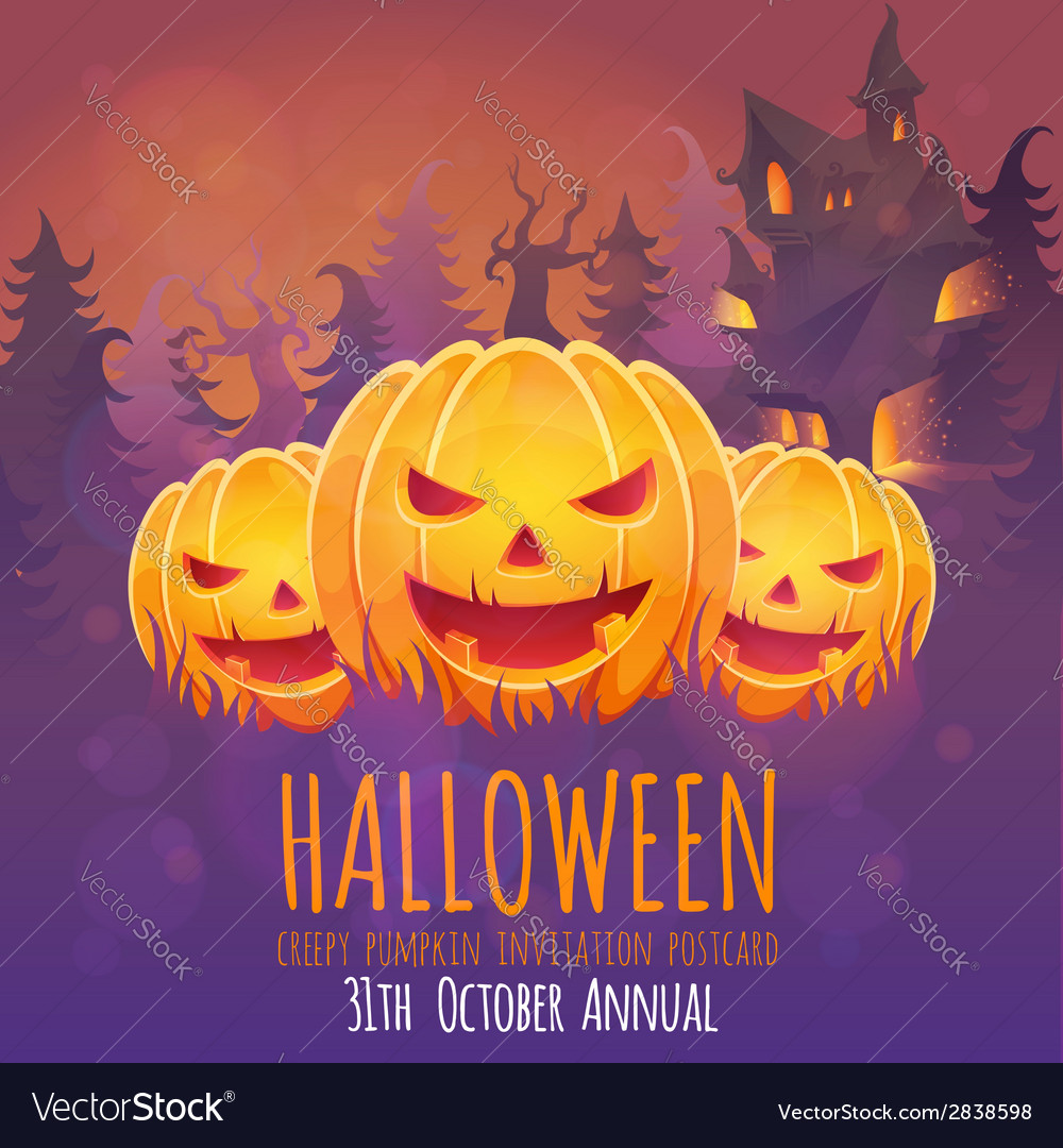 Creepy dark halloween invitation card vector | Price: 3 Credit (USD $3)