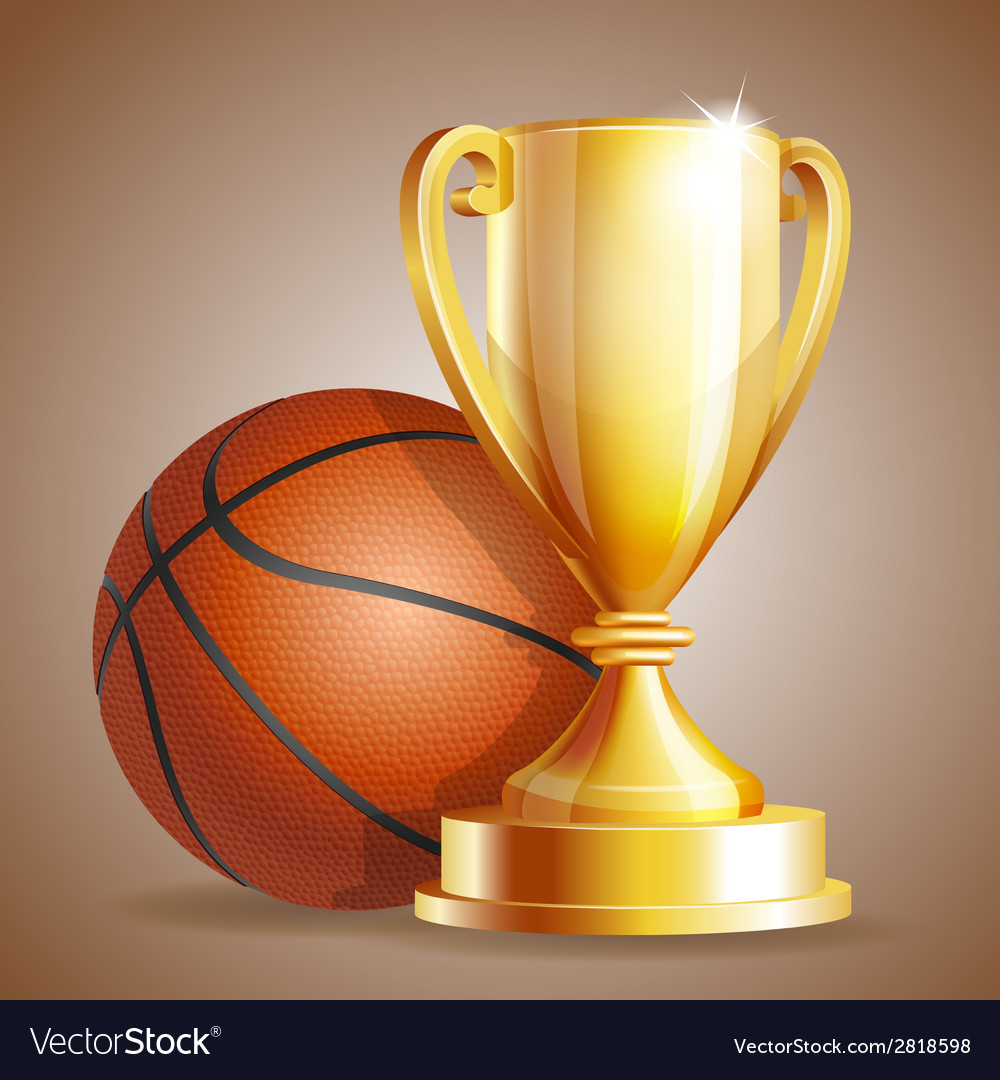 Golden trophy cup with a basketball ball vector | Price: 3 Credit (USD $3)