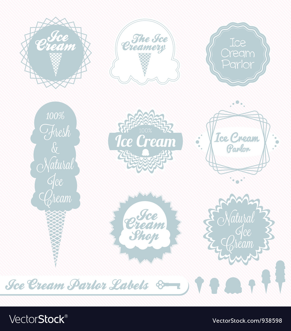 Ice cream labels vector | Price: 1 Credit (USD $1)