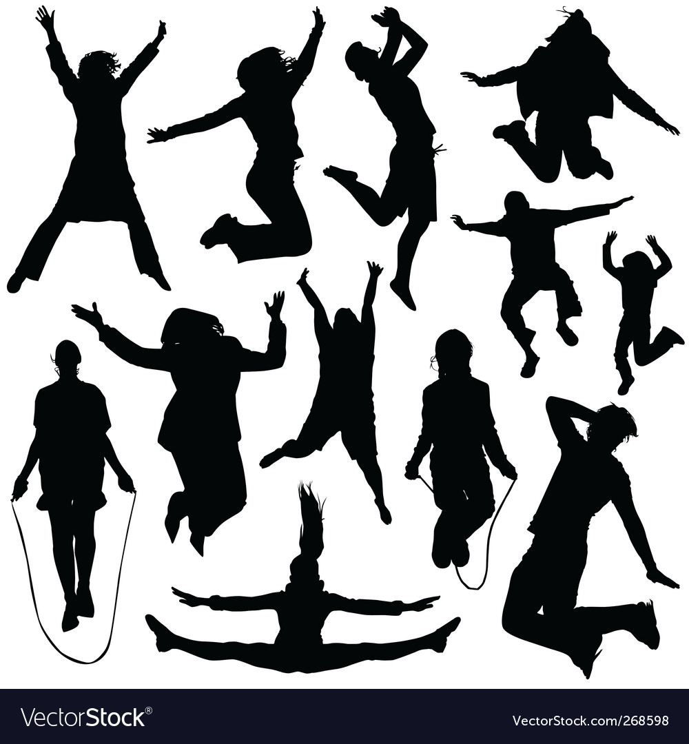 People jumping vector | Price: 1 Credit (USD $1)