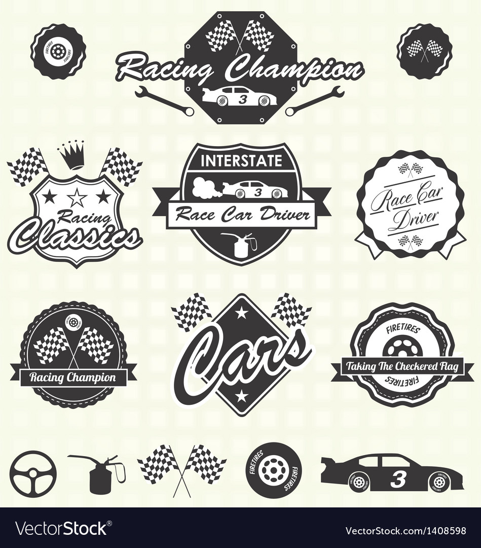 Retro race car champion labels vector | Price: 3 Credit (USD $3)