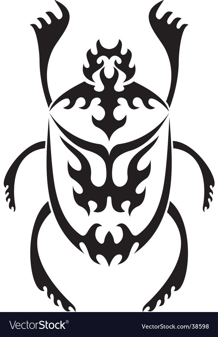 Sacred scarab tribal tattoo vector | Price: 1 Credit (USD $1)