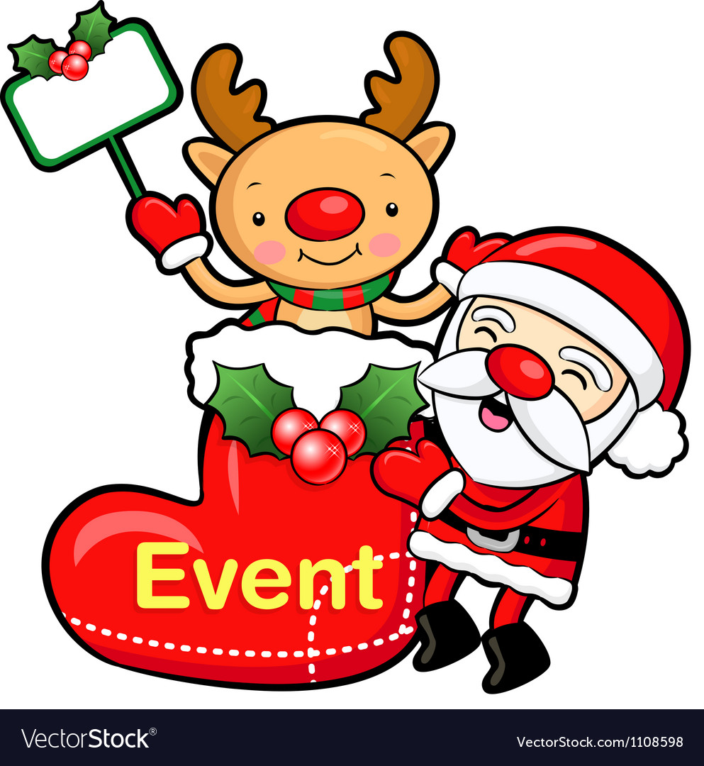 Santa claus and deer mascot the event activity vector | Price: 1 Credit (USD $1)