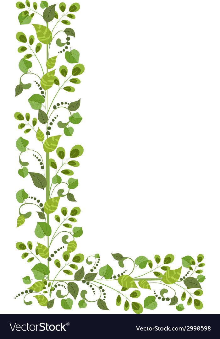 Spring green leaves eco letter l vector | Price: 1 Credit (USD $1)