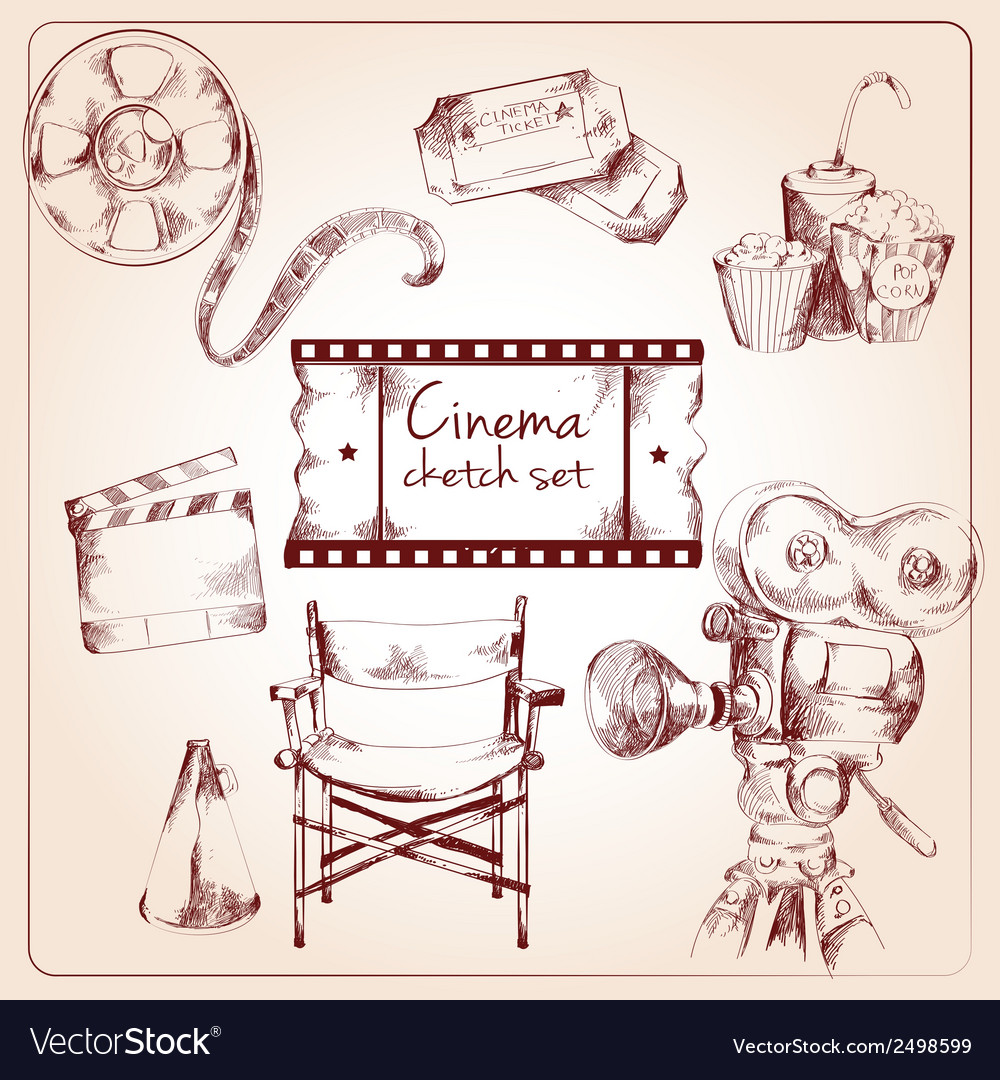 Cinema sketch set vector | Price: 1 Credit (USD $1)