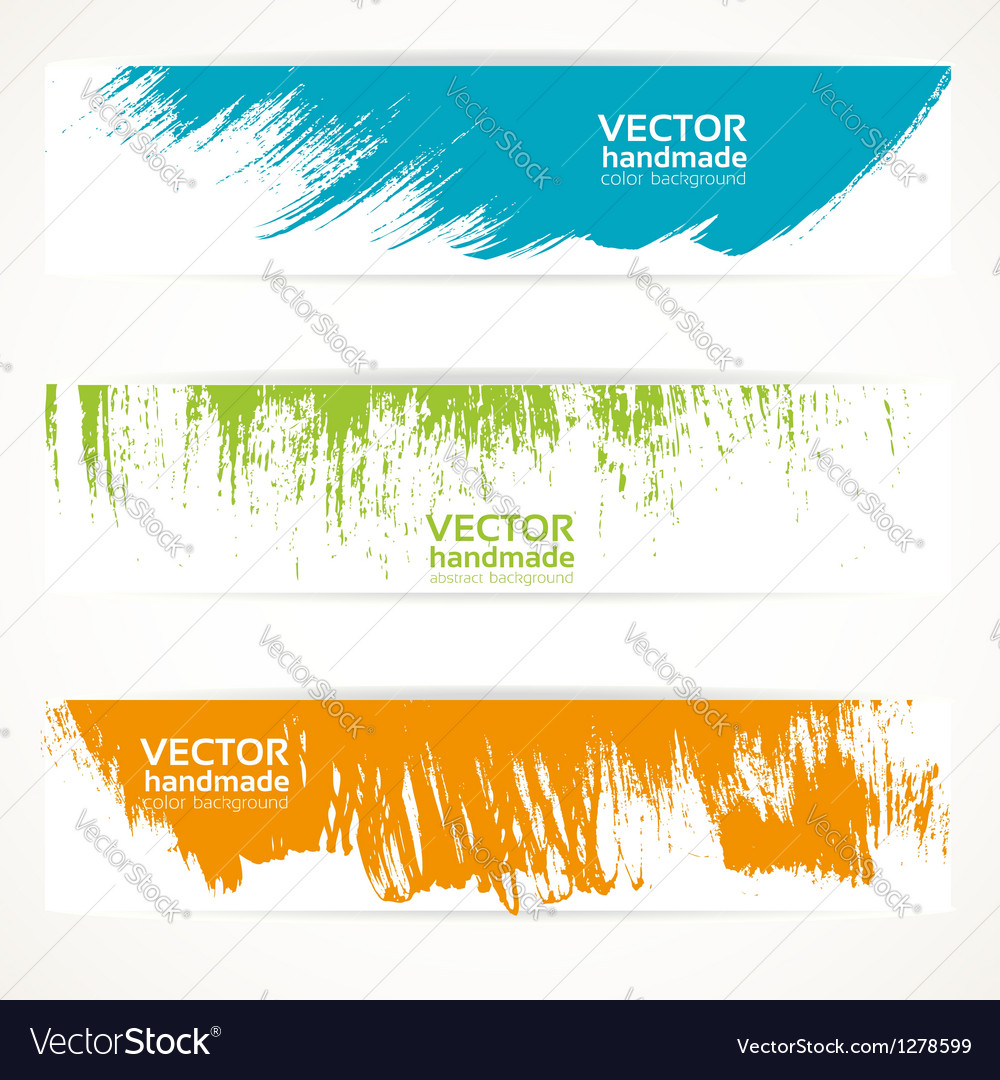 Color handmade abstract brush strokes banners vector | Price: 1 Credit (USD $1)
