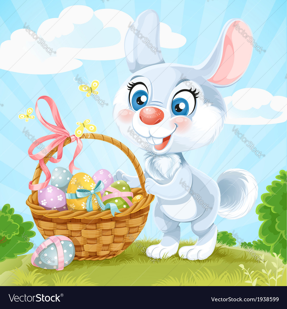 Easter bunny with basket of eggs on the green lawn vector | Price: 5 Credit (USD $5)