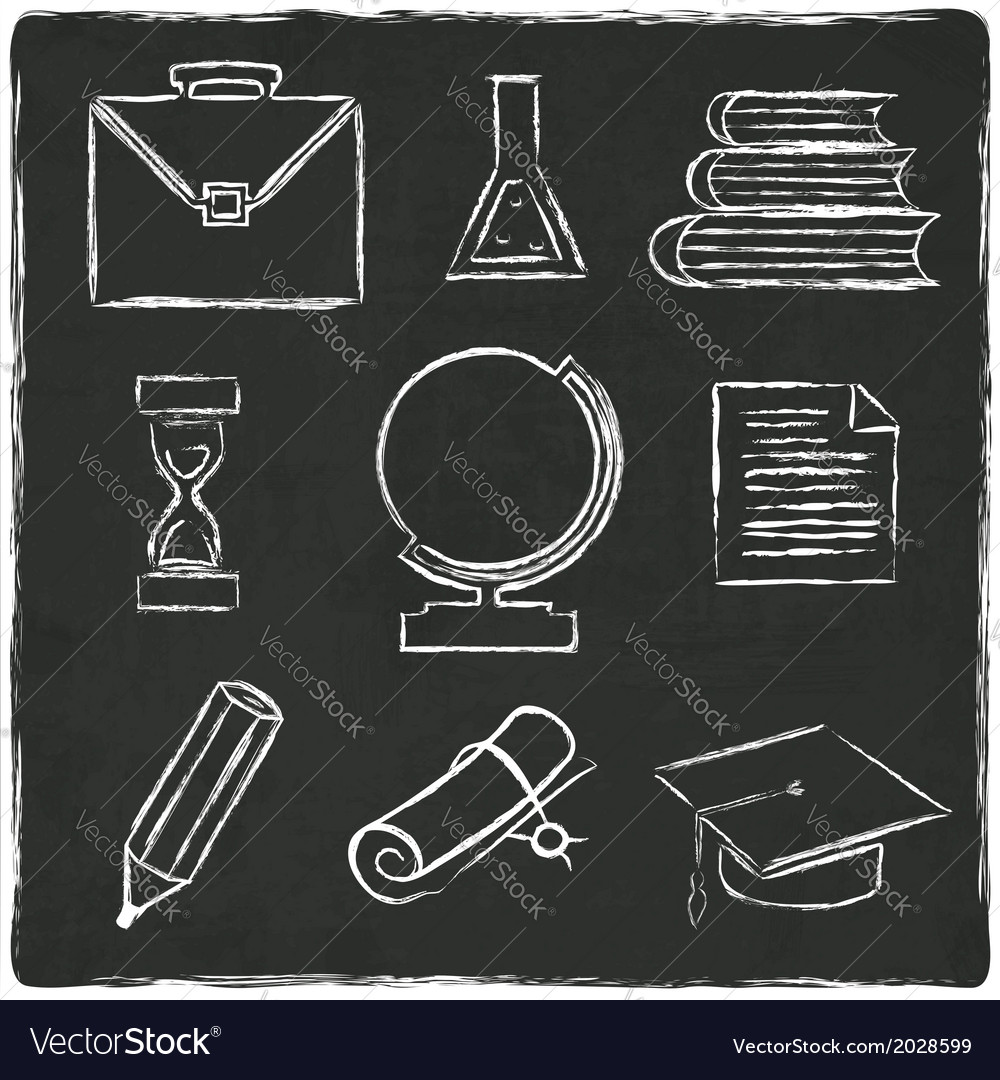 Education icons set on old black board vector | Price: 1 Credit (USD $1)