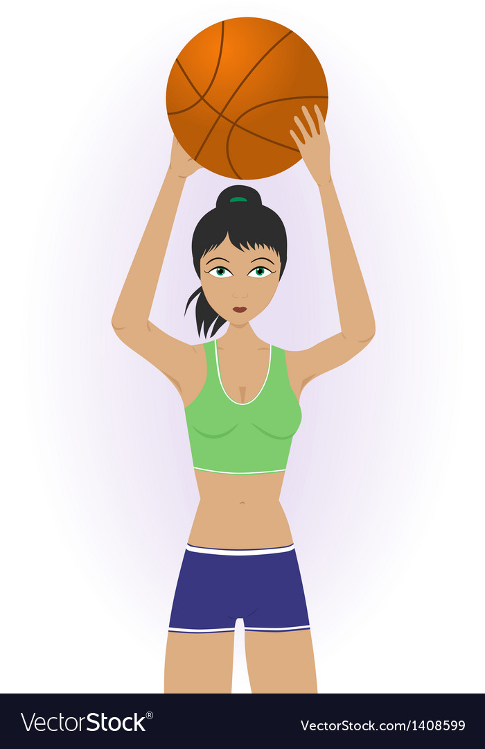 Girl throwing a basketball vector | Price: 1 Credit (USD $1)