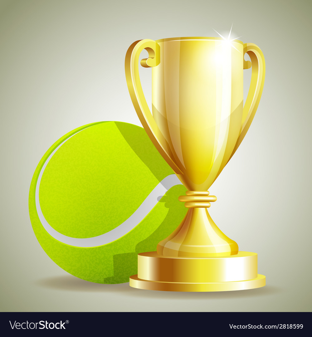 Golden trophy cup with a tennis ball vector | Price: 3 Credit (USD $3)
