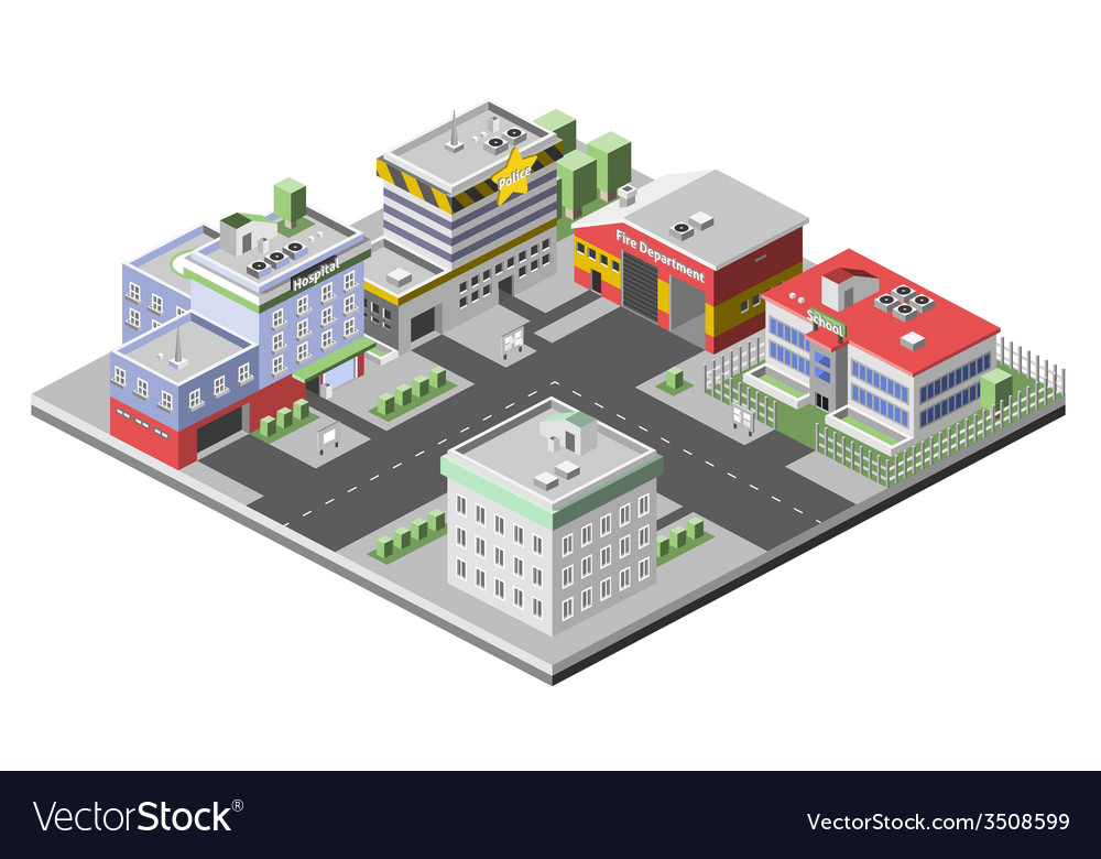 Isometric buildings concept vector | Price: 1 Credit (USD $1)