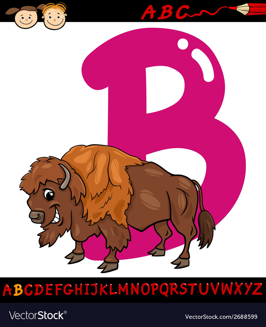Letter b for bison cartoon vector | Price: 1 Credit (USD $1)