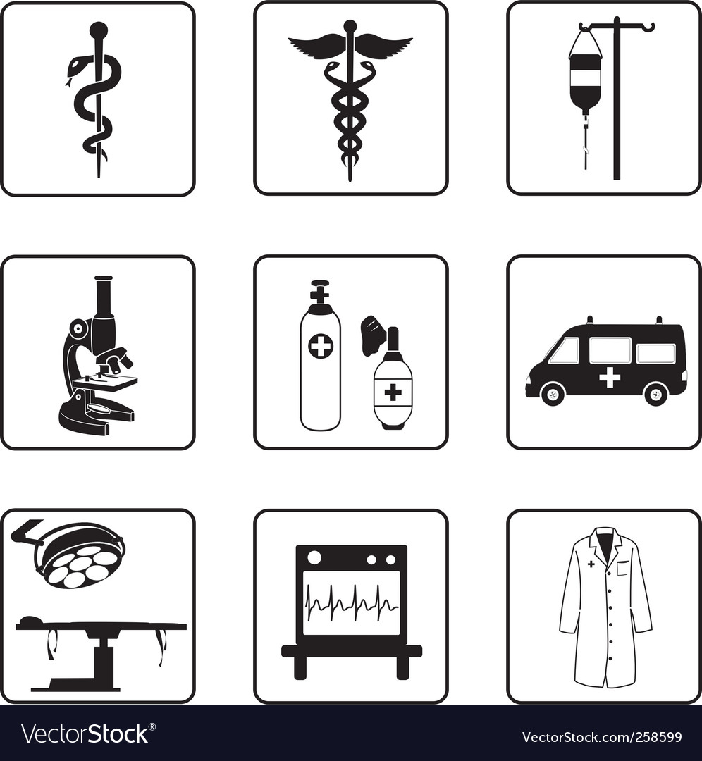 Medical symbols and equipment vector | Price: 1 Credit (USD $1)