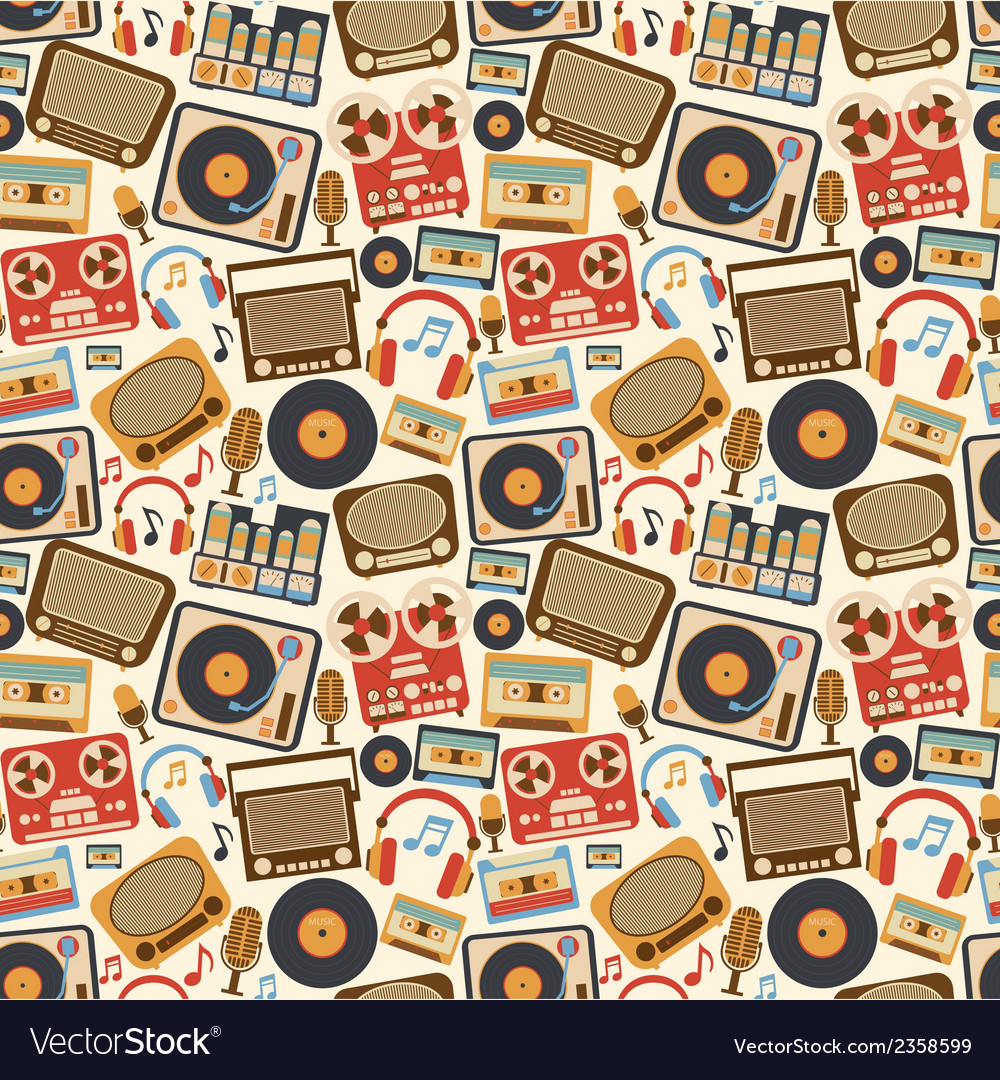 Music retro seamless pattern vector | Price: 1 Credit (USD $1)