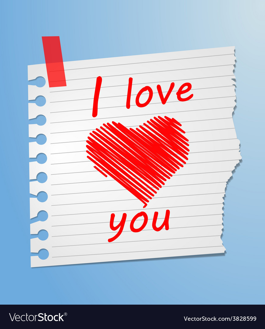 Piece of paper love you vector | Price: 1 Credit (USD $1)