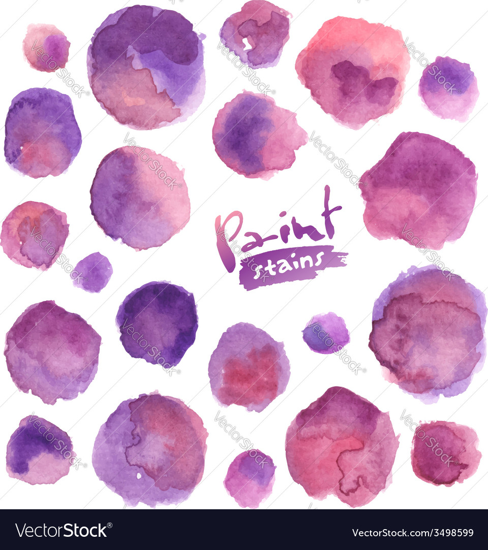 Purple watercolor painted stains set vector | Price: 1 Credit (USD $1)