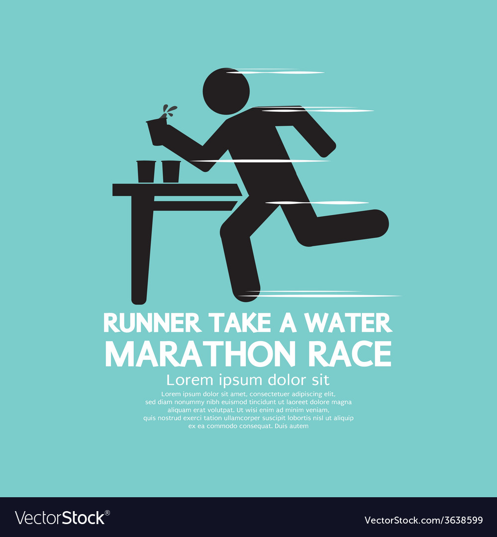Runner take a water in a marathon race symbol vector | Price: 1 Credit (USD $1)