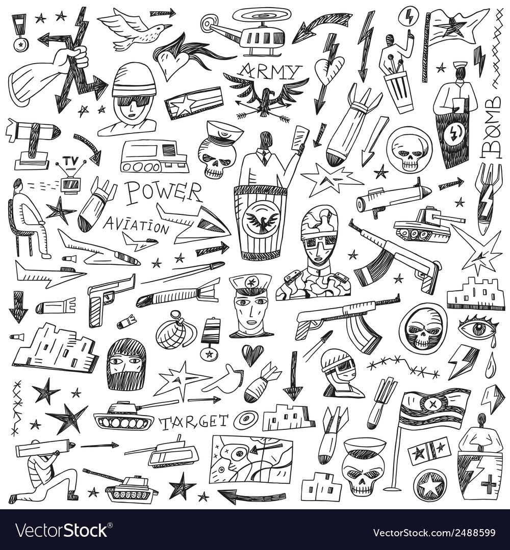 War - doodles set vector | Price: 1 Credit (USD $1)