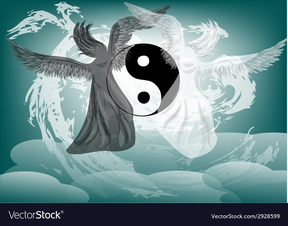 Yin and yang fantasy with angels vector   Price: 1 Credit (USD $1)